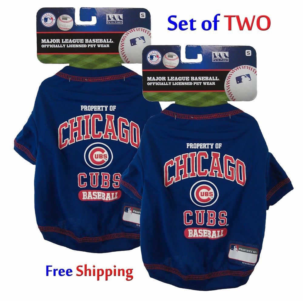 $34.99 Chicago Cubs Dog T-Shirts Set of TWO Both Size Small Pets First Tee NEW/NWT #PetsFirst #DogTee #DogClothes #ChicagoCubs #Cubs #MLB