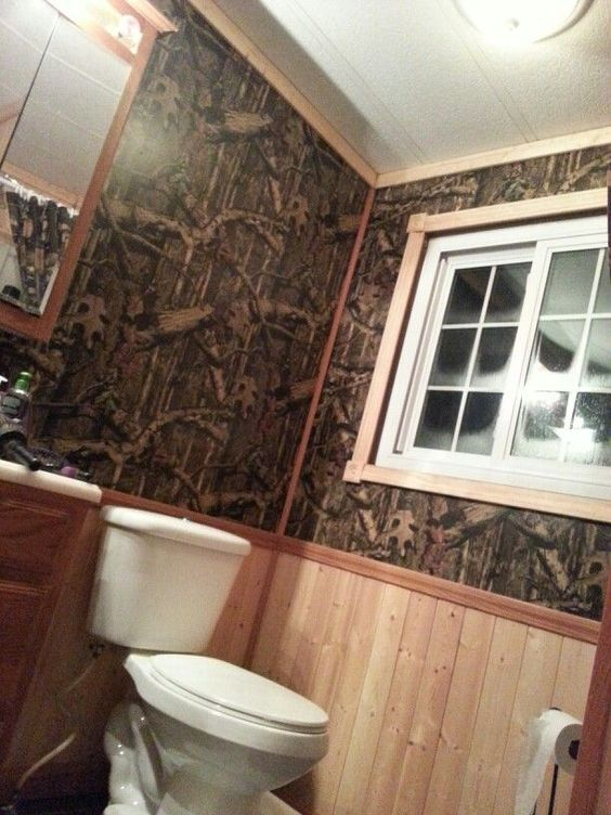 We want this bathroom with camo wallpaper Camo Wallpaper