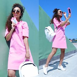 Larissa B. - Moonarshop Mirror Moschino Case Pink Barbie Collection, New Yorker Round Brown Sunnies Sunglasses, Liquor N Poker Pink Rough Cut Off Dress Bright Pink, Sacha White Adidas Like Shoes Sneakers, White Bag Pack - MIRROR, MIRROR, ON MY PHONE...