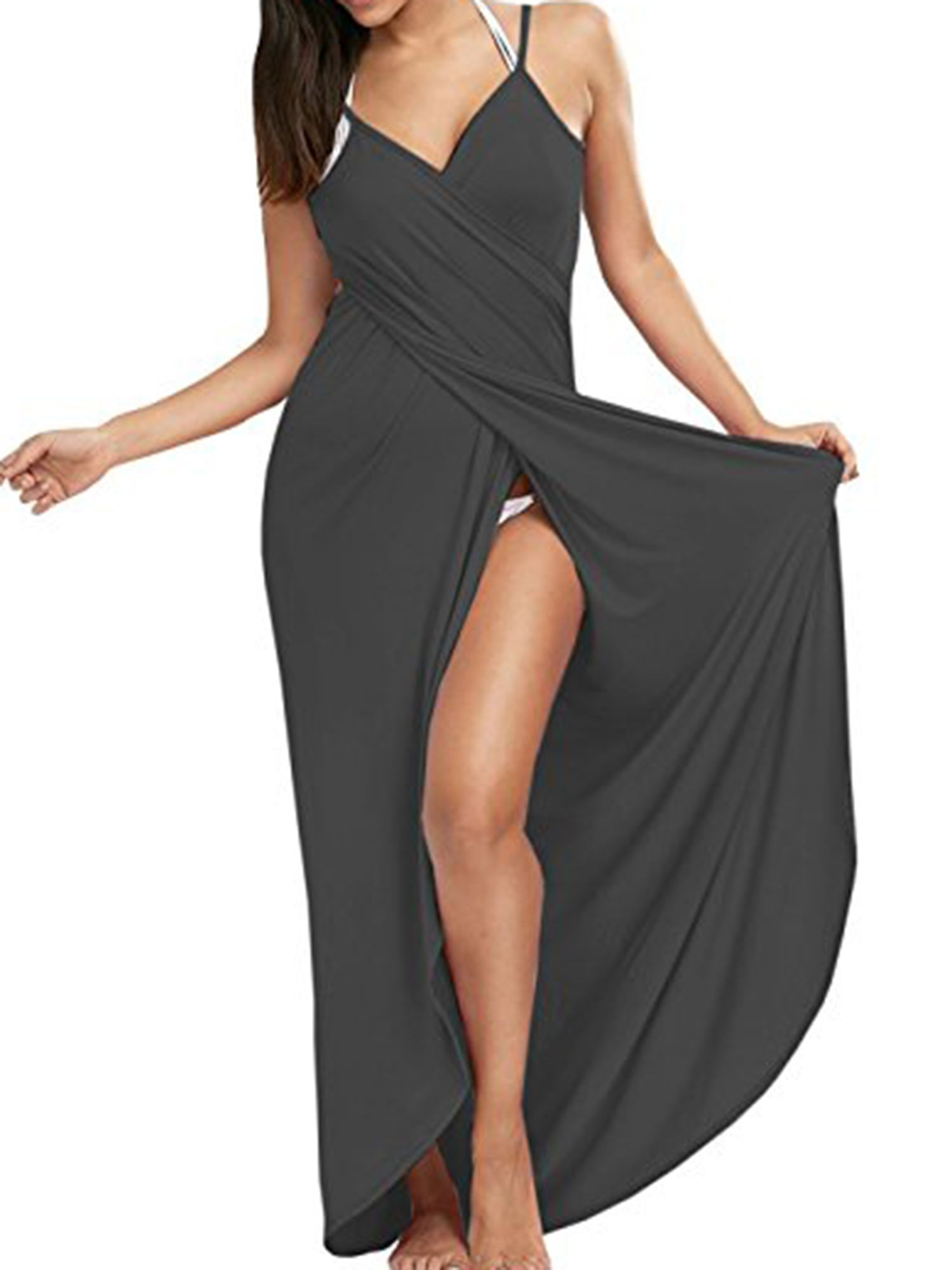 df6da28c30 SAYFUT Women's Sexy Deep V-Neckline Bikini Wrap Swimsuit Cover Up Backless  Long Beach Dress Plus Size Solid Color Black/Deep Gray/Pink L-5XL#Wrap, # Bikini, ...