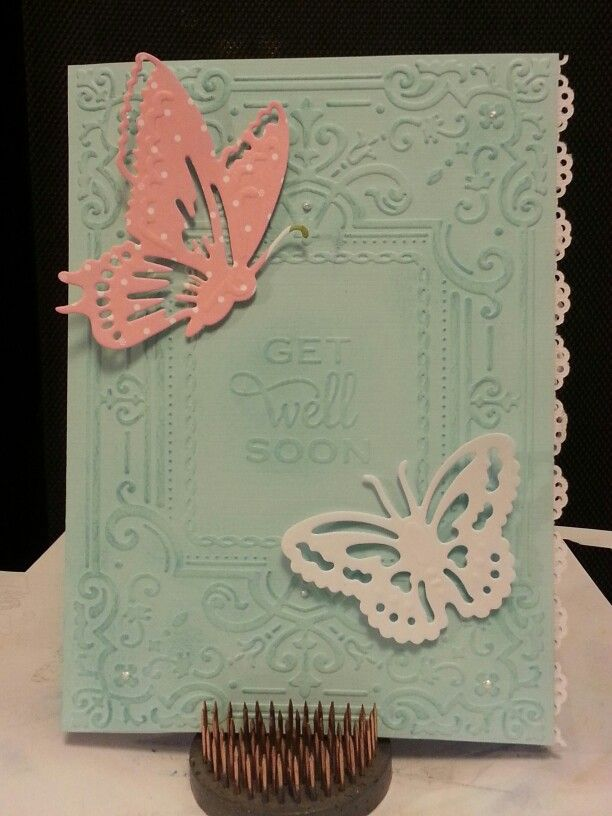 Hancrafted card using Anna Griffin embossing folders and dies. Lace edge is a Martha Stewart edge punch. Handcrafted by Michelle Ertle