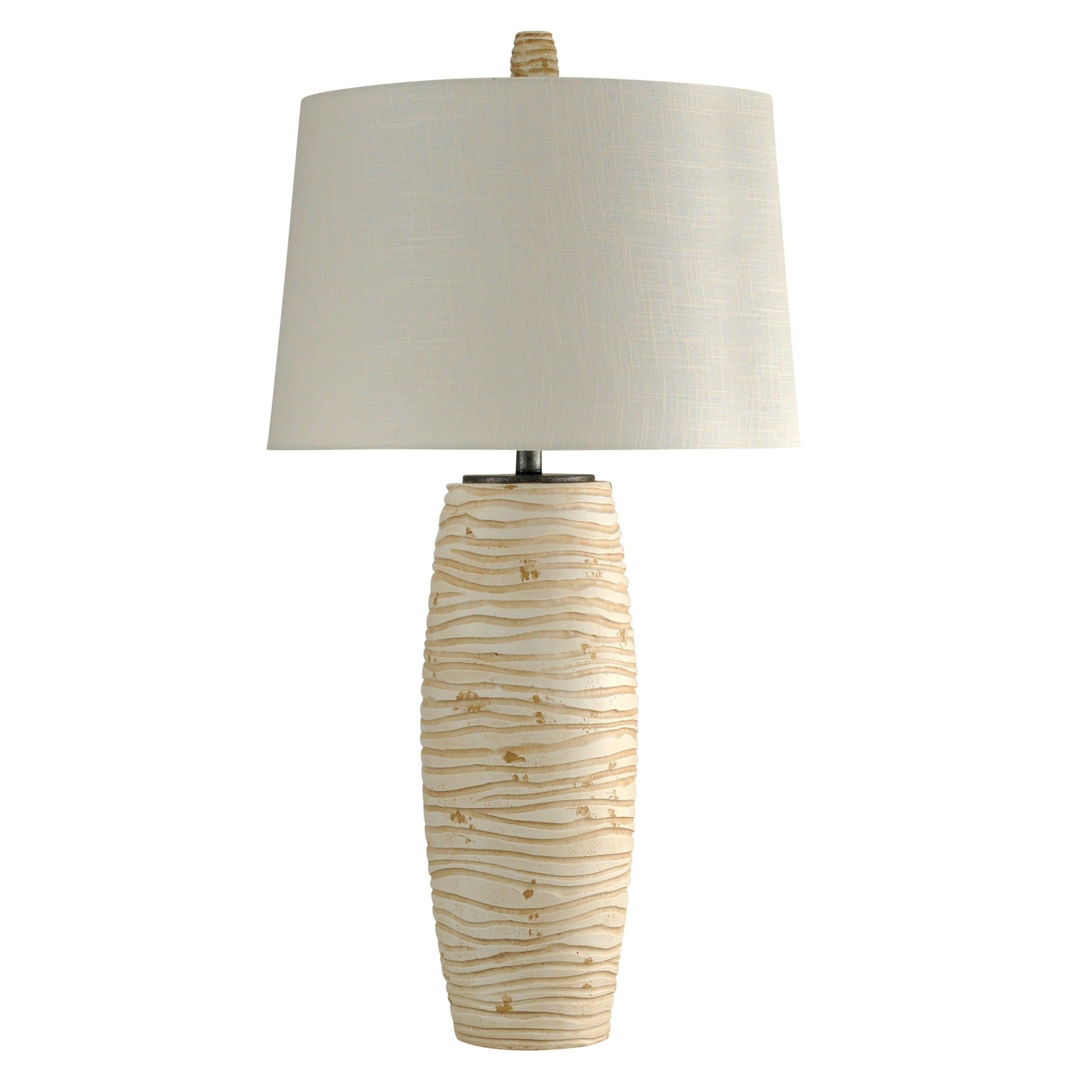 William Magnum Waxham Beige Table Lamp White Hardback Fabric