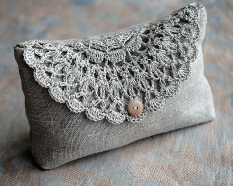Linen clutch, pouch, purse, makeup bag — crocheted detail closure