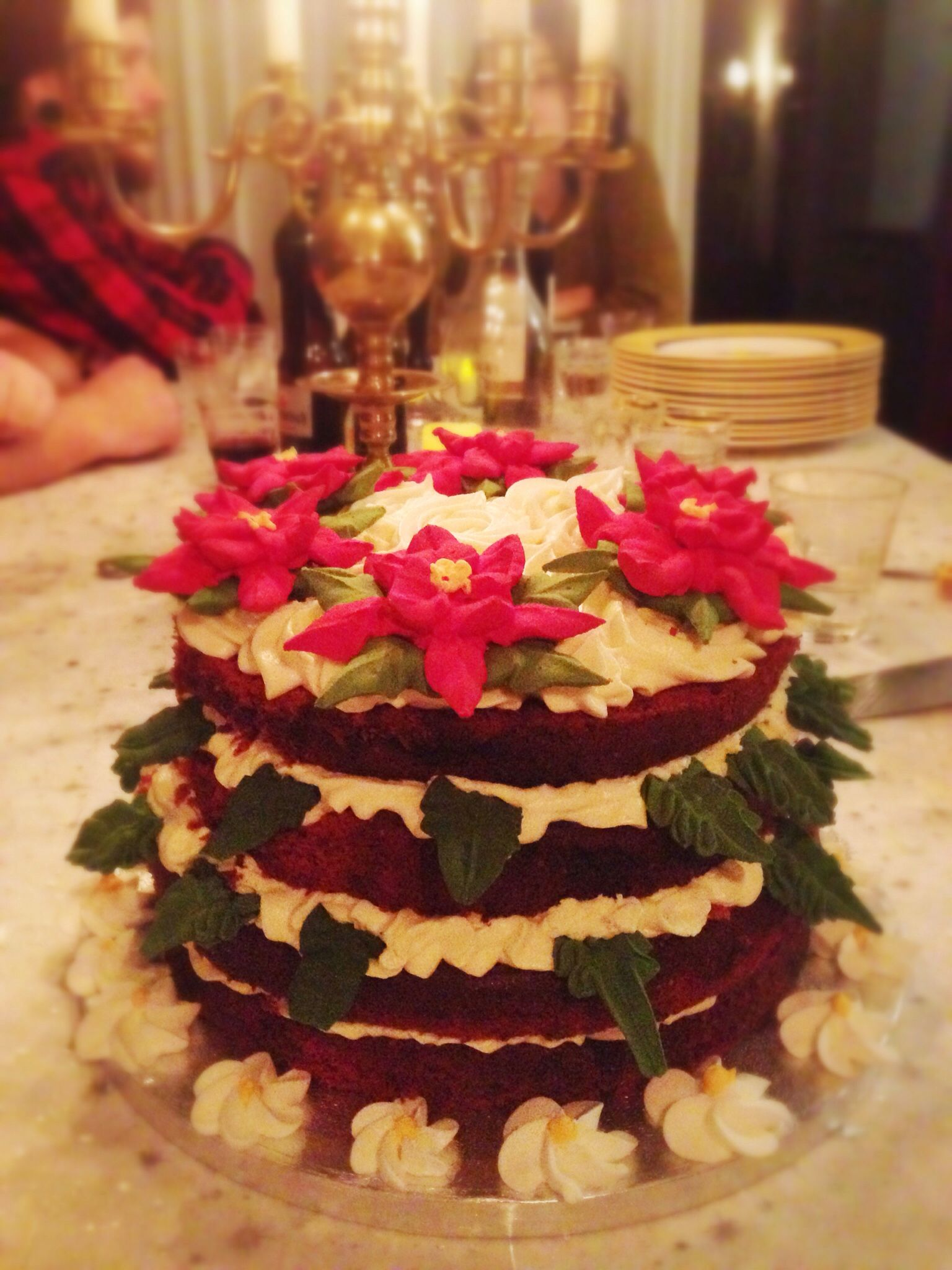 Red Velvet Cake with Cream cheese white chocolate frosting and royal icing Poinsettias
