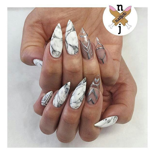 Marble Nail Art Stiletto: Cable Knit Nails The Latest Trend This Season