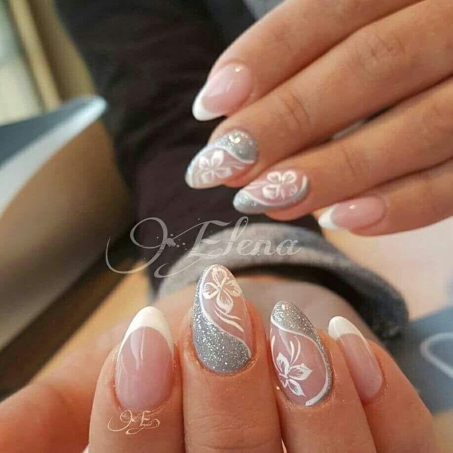 French bianco argento glitter fiori Disegni Unghia, Unghie Graziose, Nail  Art French, Unghie