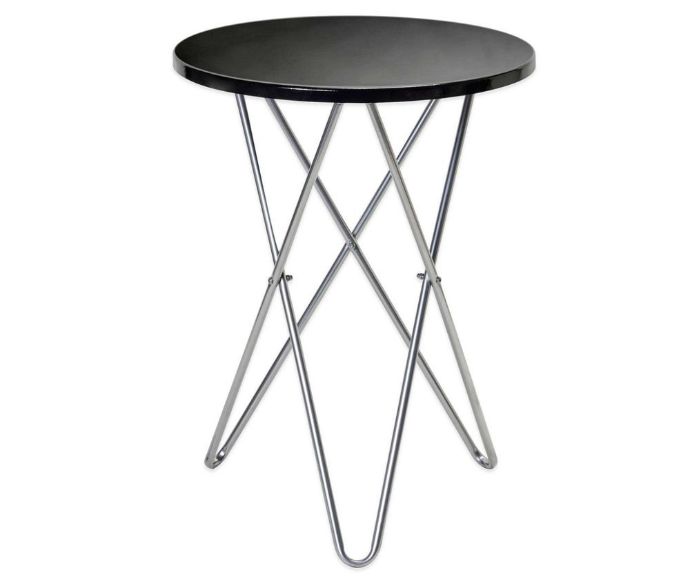 Round Metal Side End Surface Table Black Portable Party