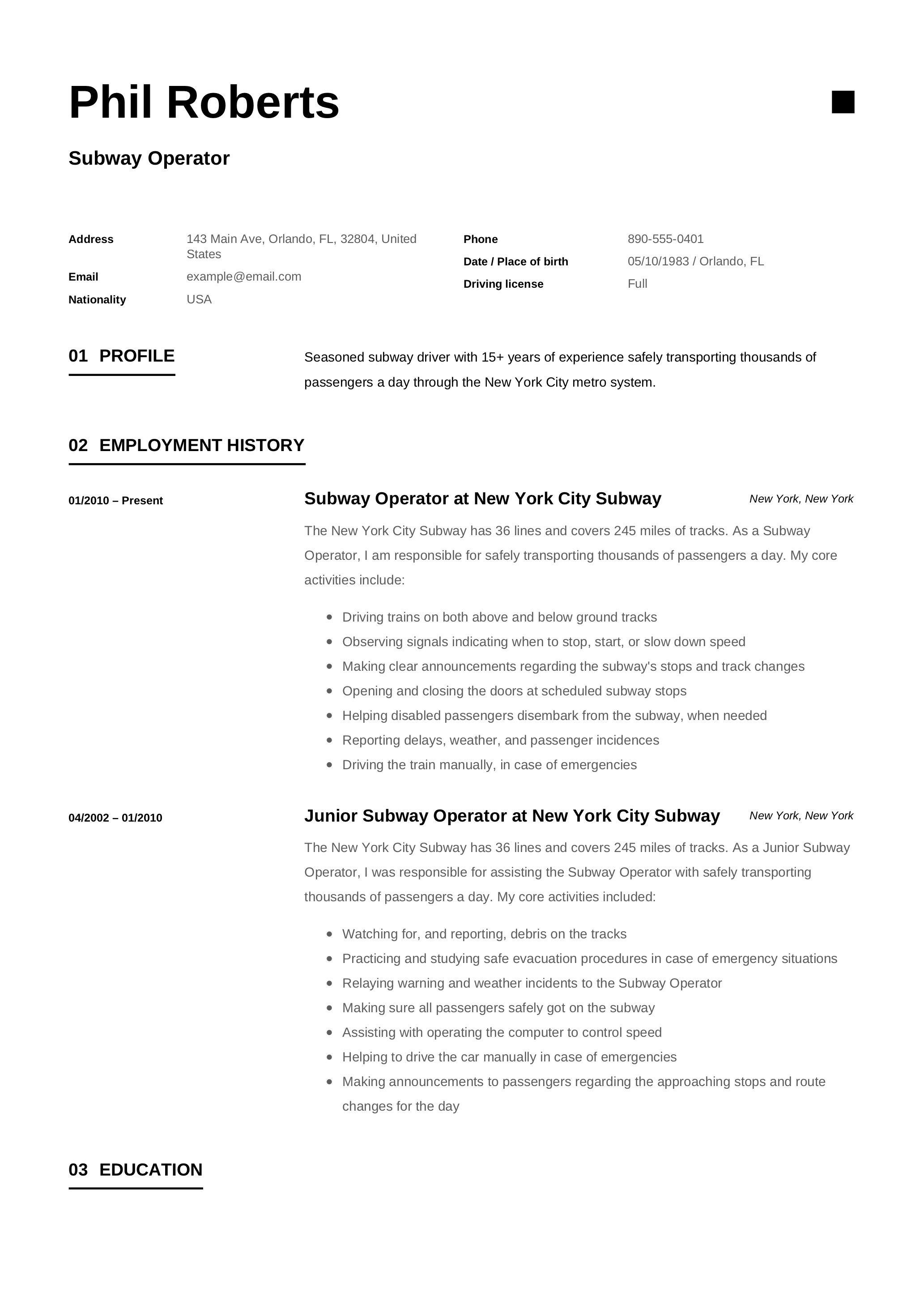Subway Operator Resume Template Resume Examples Job Resume Examples Customer Service Resume Examples