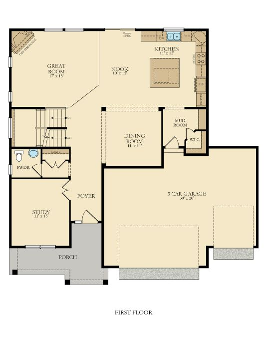 The Wabasha Floorplan Main Level Complete With A Study New House Plans House Floor Plans House Plans