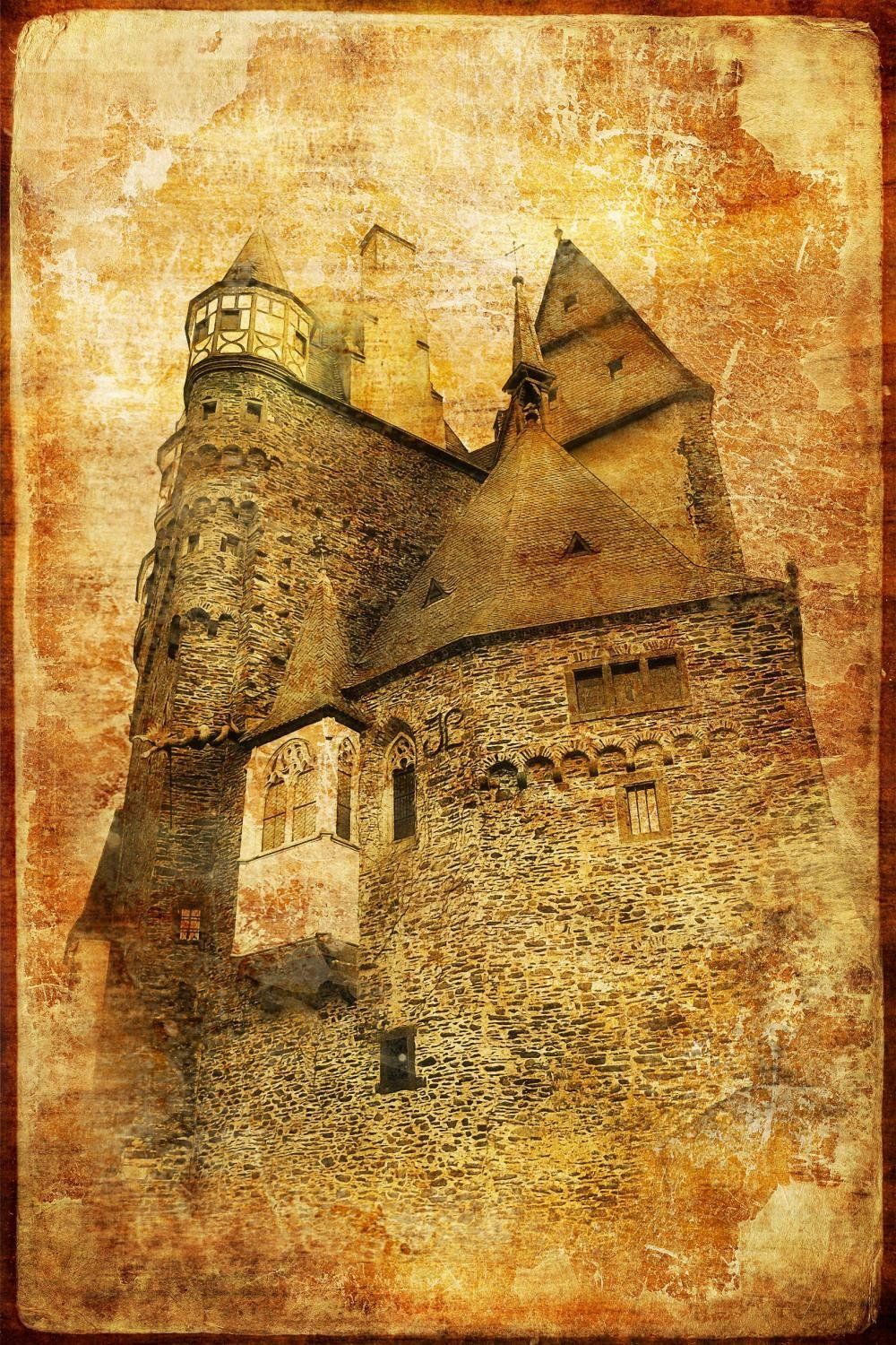 Wallmonkeys Burg Eltz Castle in Germany - Picture in Retro Style ...