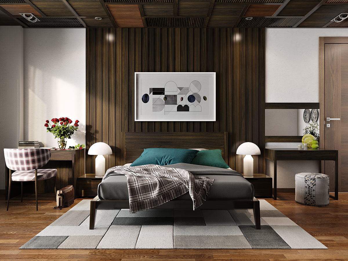 Master Bedroom Walnut Wooden On Behance Minimalist Bedroom
