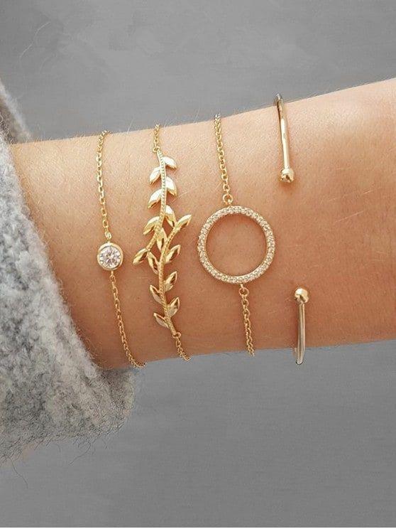 Photo of BUY IT NOW!! Leaf Shape Rhinestone Bracelets Set – Gold #accessories #accessorie…