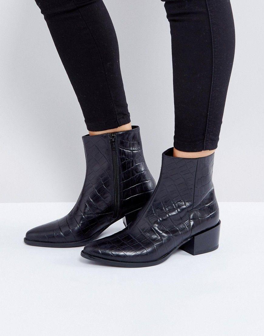 ff9c98d335f Vagabond Marja Black Leather Croc Effect Ankle Boots - Black ...