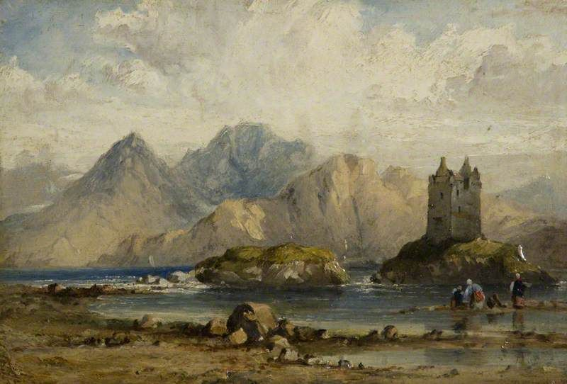 Scottish Paintings Castle On A Scottish Loch Scottish Painting Art Uk Painting