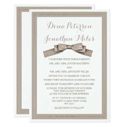 #customize - #Modern sophisticated brown faux gold white wedding card