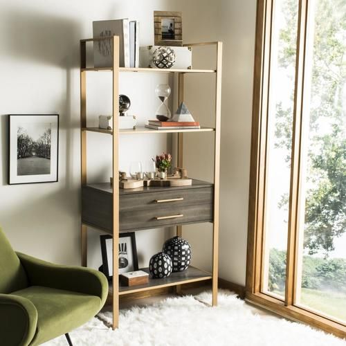 Shop safavieh skylar 32.0 w x 72.0 h x 18.0 d etageres in the bookcases section of Lowes.com