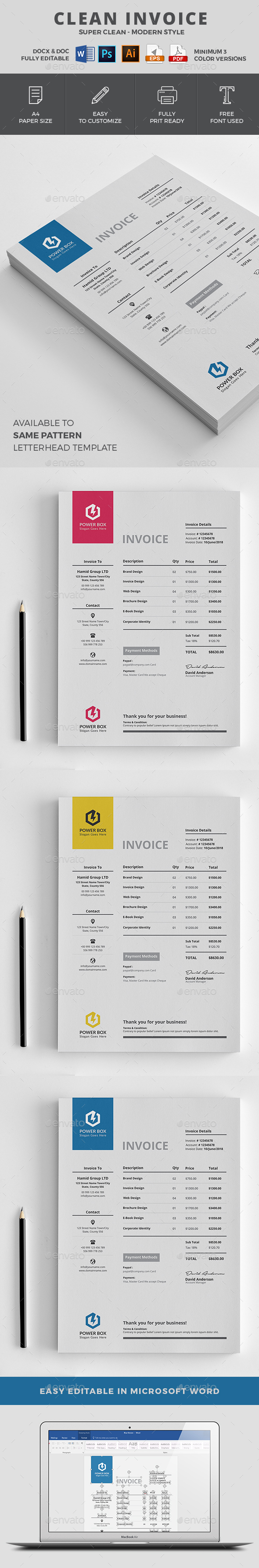 Invoice   Pinterest   Proposals  Minimal and Template  Invoice   Proposals   Invoices Stationery   Minimal Invoice Template   5  color variations I Available in  MS Word  PSD  Ai  Eps   Pdf Format I  Download