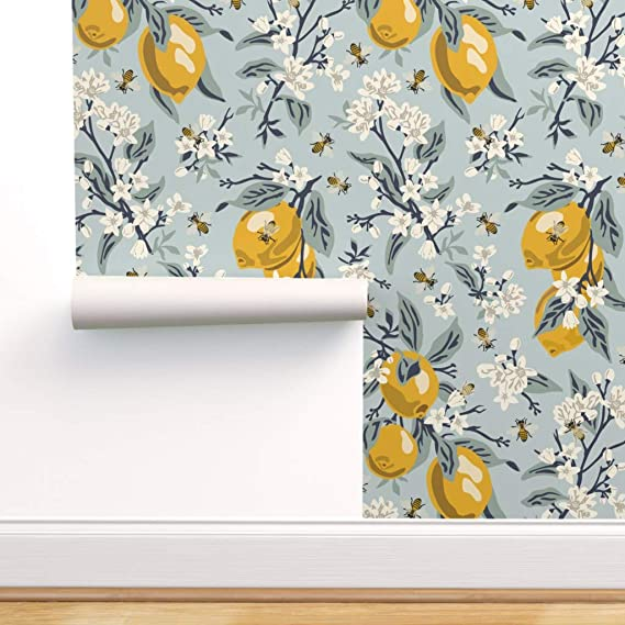 Spoonflower Peel And Stick Removable Wallpaper Bees Citrus Illustration Honey Pollinators Lemons Fruit A Botanical Wallpaper Wallpaper Self Adhesive Wallpaper