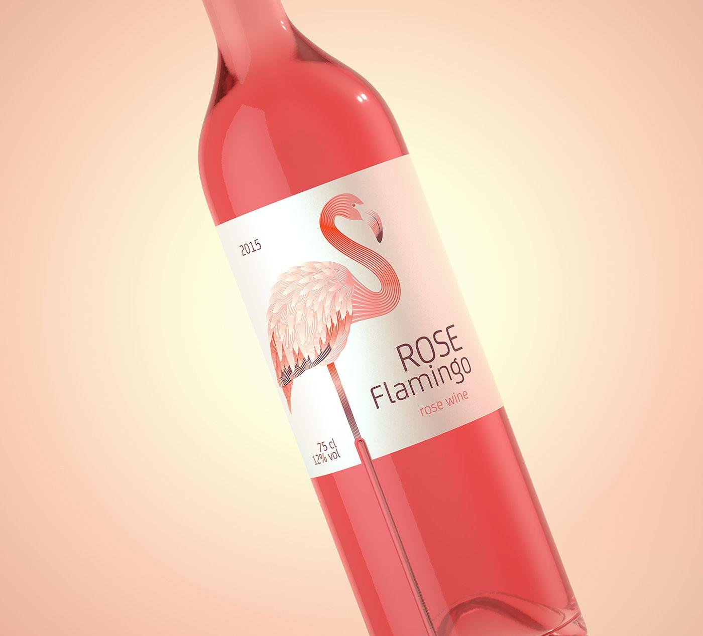Rose Flamingo Wine On Behance Wine Flamingo Rose
