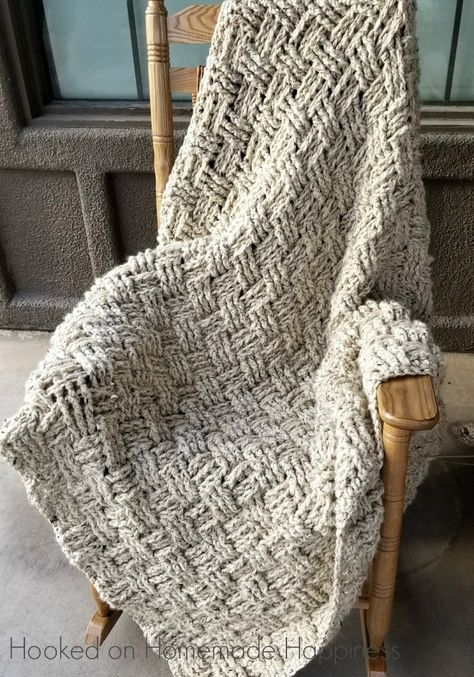 Chunky Basketweave Throw Crochet Pattern | Colchas tejidas ...