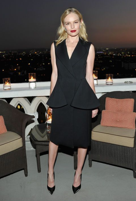 Wearing all black doesn't have to mean boring. Whether you want to elevate your nighttime style, or your go-to pants and blazer, get inspired by our favorite style stars who make the look anything but basic; Kate Bosworth.