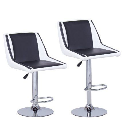 AmazonSmile - 360 Degree Swivel Adjustable Two-tone Bar Stools - Set of 2 (Black and White) -