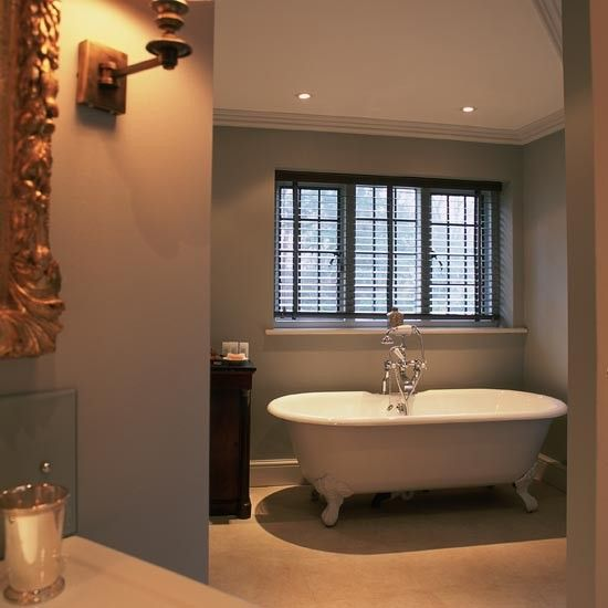 What Paint Finish For Bathroom Walls: Traditional Grey Painted Bathroom In This Traditional