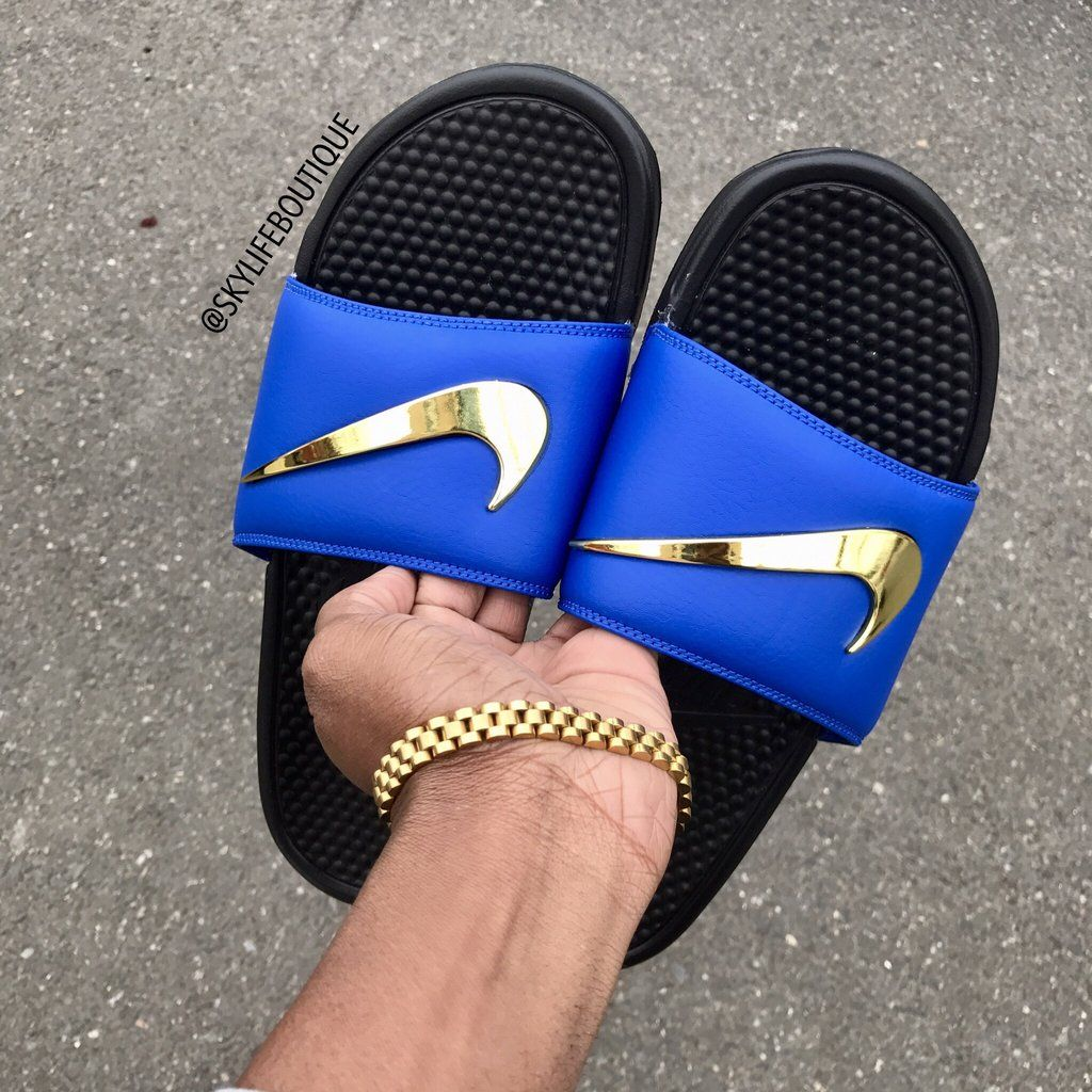 42af0b3ba84 Blue Nike Benassi Swoosh Golden Check Slides