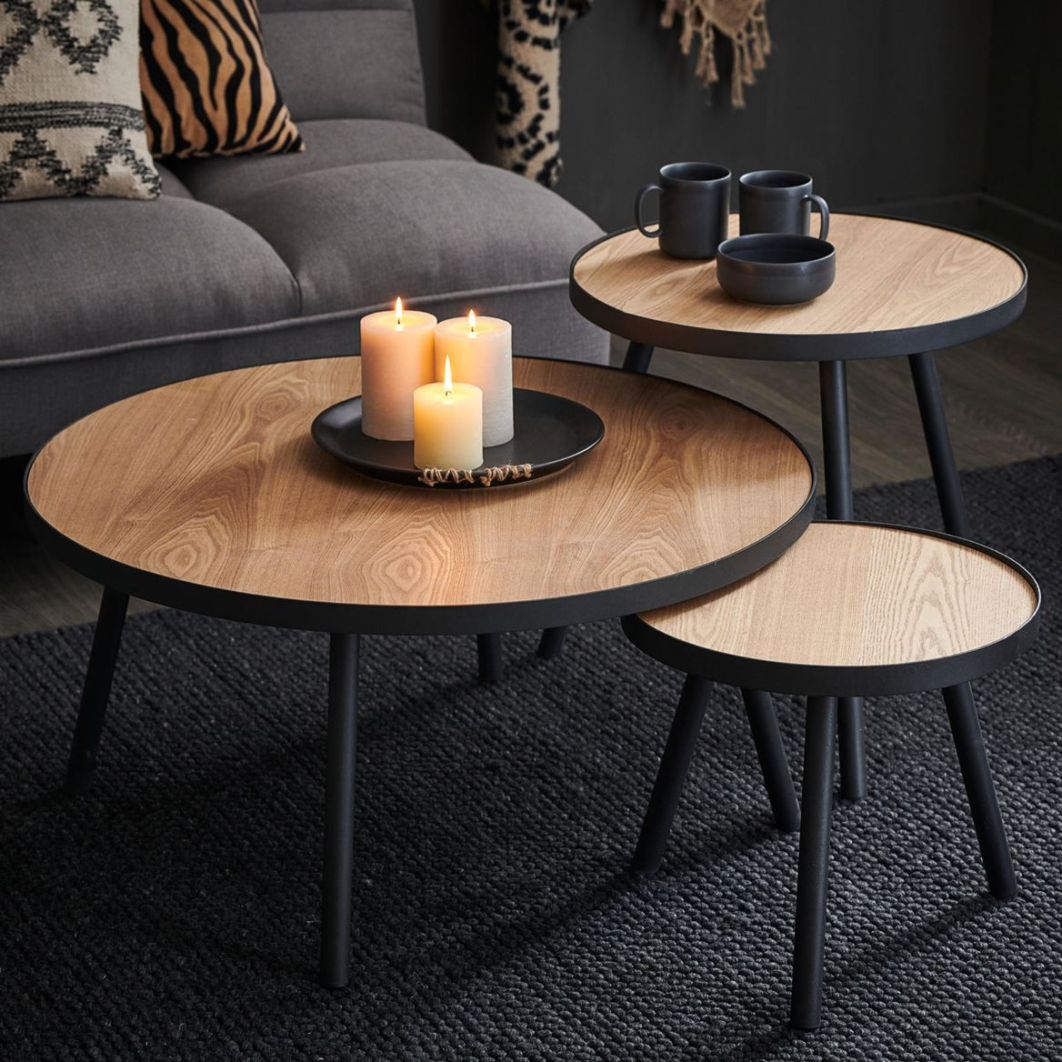 ALEXIS Table dappoint noir, naturel H 36 cm; Ø 40 cm