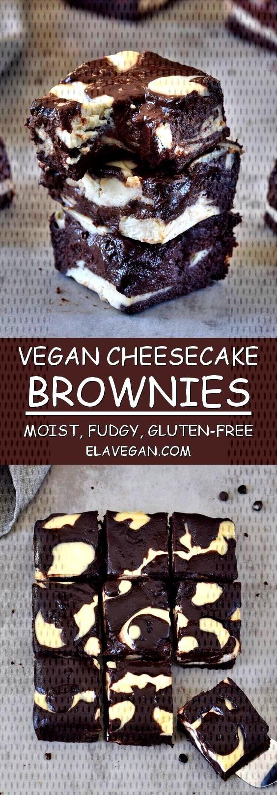 Vegan Cheesecake Brownies | Fudgy, Gluten-Free Recipe - Elavegan - These vegan cheesecake brownies