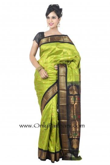 b75a0a2870 Parrot Green Paithani Saree with Black Border. #Silksaree #Designersarees  #Indiansaree #EthnicCollection #Festival #Sarees #regal #Indian
