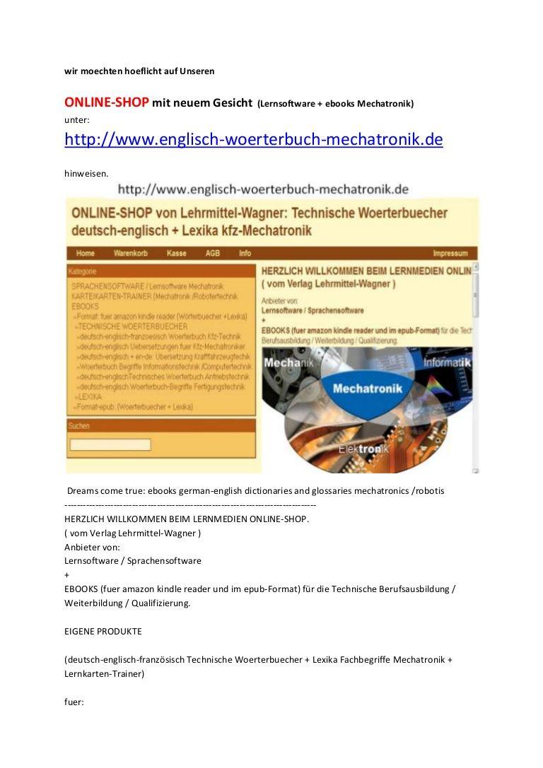Ausbildungsmittel Online Shop Fuer Mechatroniker Elektroniker Lehrmittel Worterbuch Deutsch Englisch Lernen Online