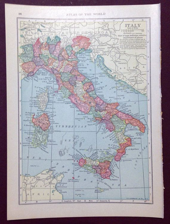 1915 Italy Map Spain Portugal Map Vintage Wall by Cherylscache ...