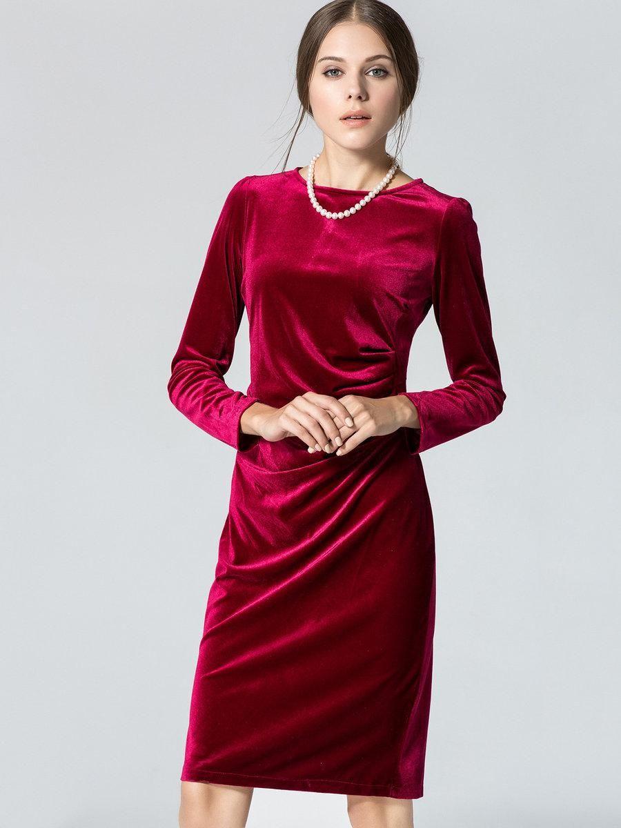 Draped long sleeve solid hline velvet dress dress online fashion