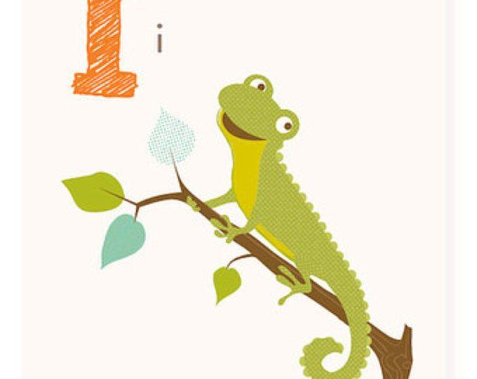ABC card, I is for Iguana, ABC wall art, alphabet flash cards ...