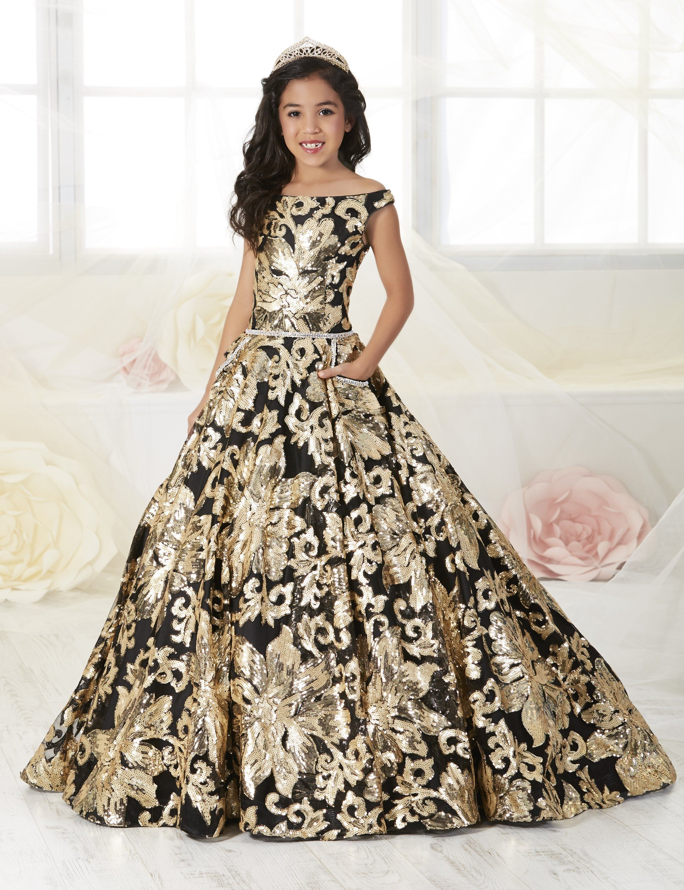 789e2afb36 Girls Floral Sequined Off Shoulder Dress by Tiffany Princess 13532 ...