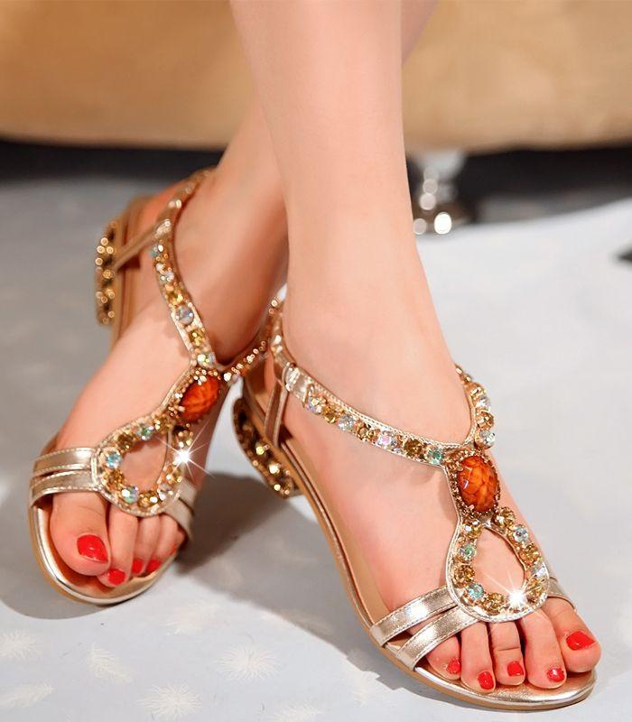 b66f6530797d1 Dresswe.com SUPPLIES Rome Style Fantastic Rhinestones Women s Flat Sandals  Flat Sandals
