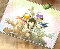 Karai and her turtle bros.  RAPH'S FACE