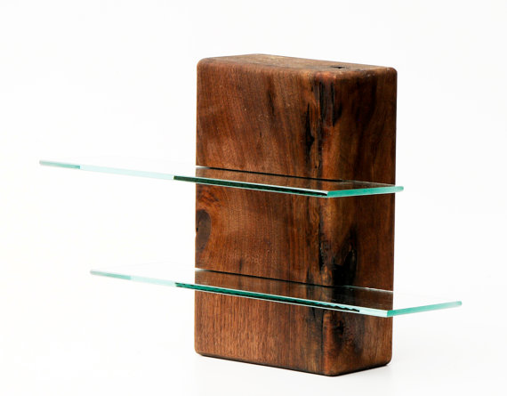 Walnut free standing shelving unit For the Home Glass