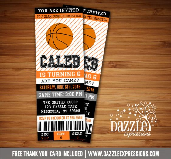 Printable Basketball Ticket Birthday Invitation NBA Party