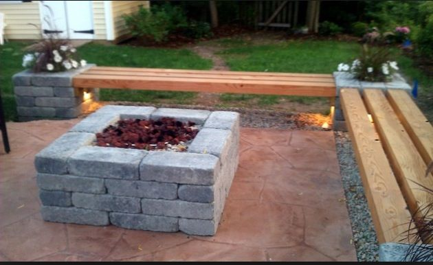 Simple Firepit And Bench Fire Pit Landscaping Garden Fire Pit Modern Landscaping