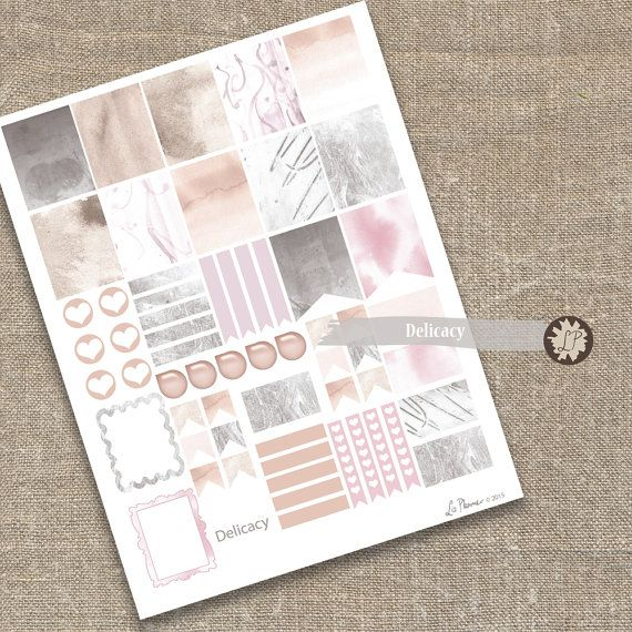 Pastel Planner Stickers Delicate Color Printable by LizPlummer