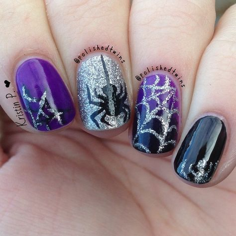 Black & Purple Sparkly Halloween Spider Nails | Halloween ...