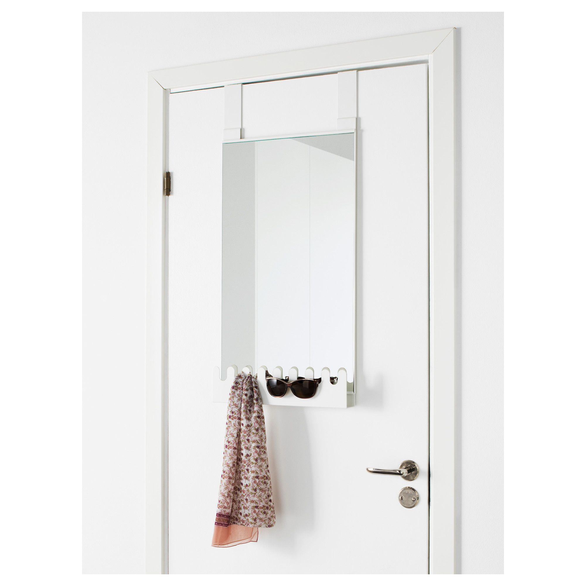 Ikea Garnes Over The Door Mirror Hooks Amp Shelf Out Of Wall Space Don T Worry This Mirror Hangs On Your Door Y Over The Door Mirror Mirror Door Ikea
