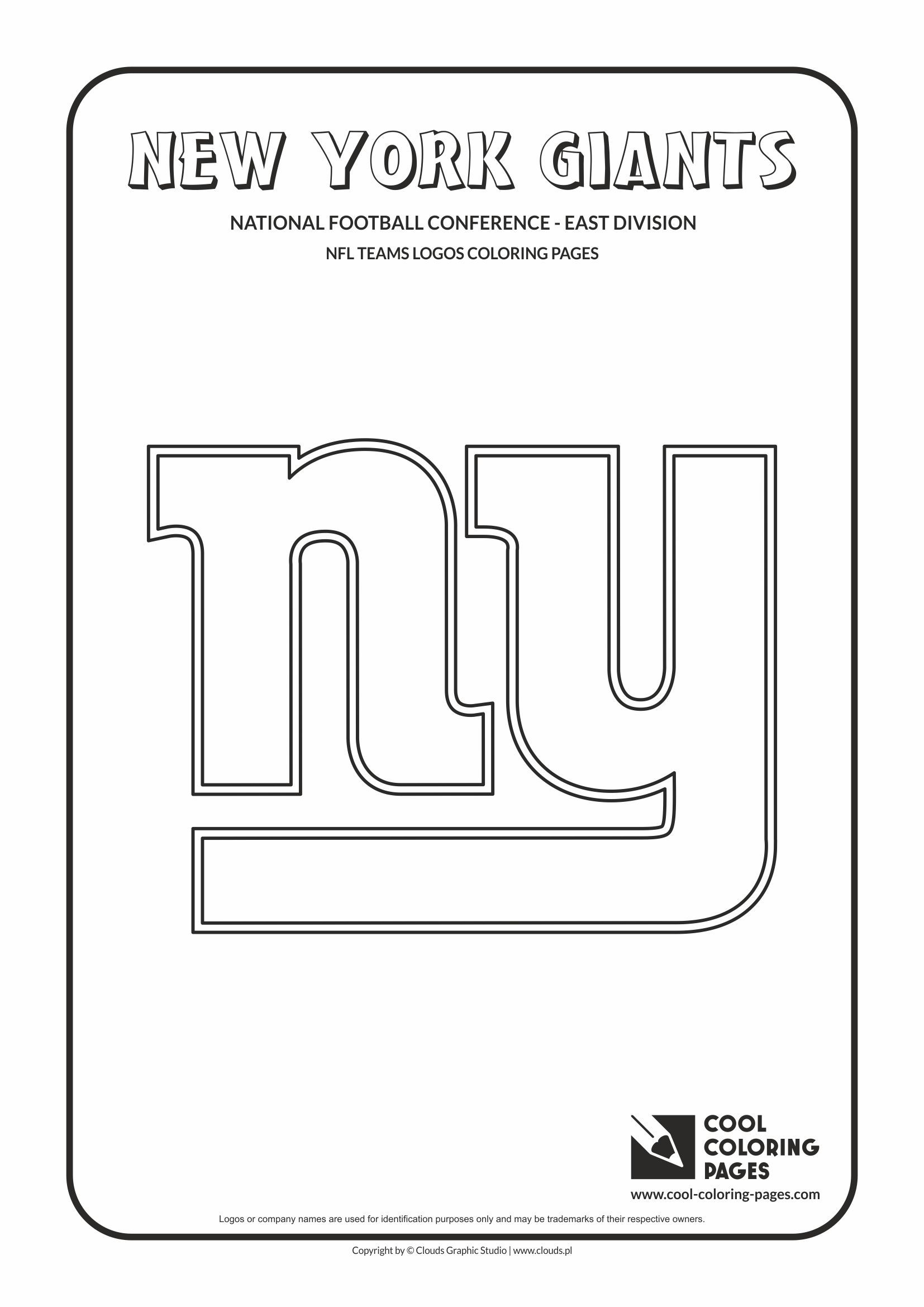New York Giants Nfl American Football Teams Logos Coloring Pages