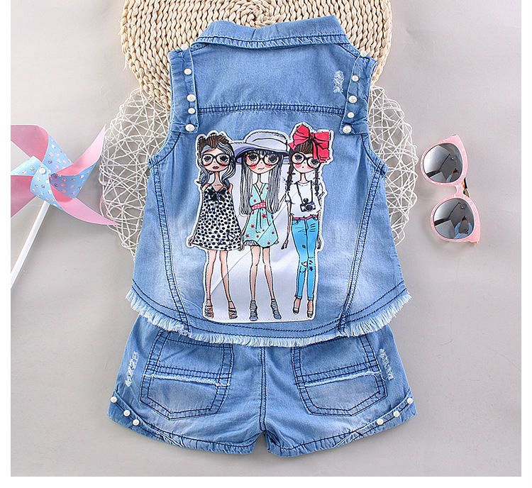 047a92f0c Kids Clothing Sets Baby Girl denim vest + shorts two pieces sets ...