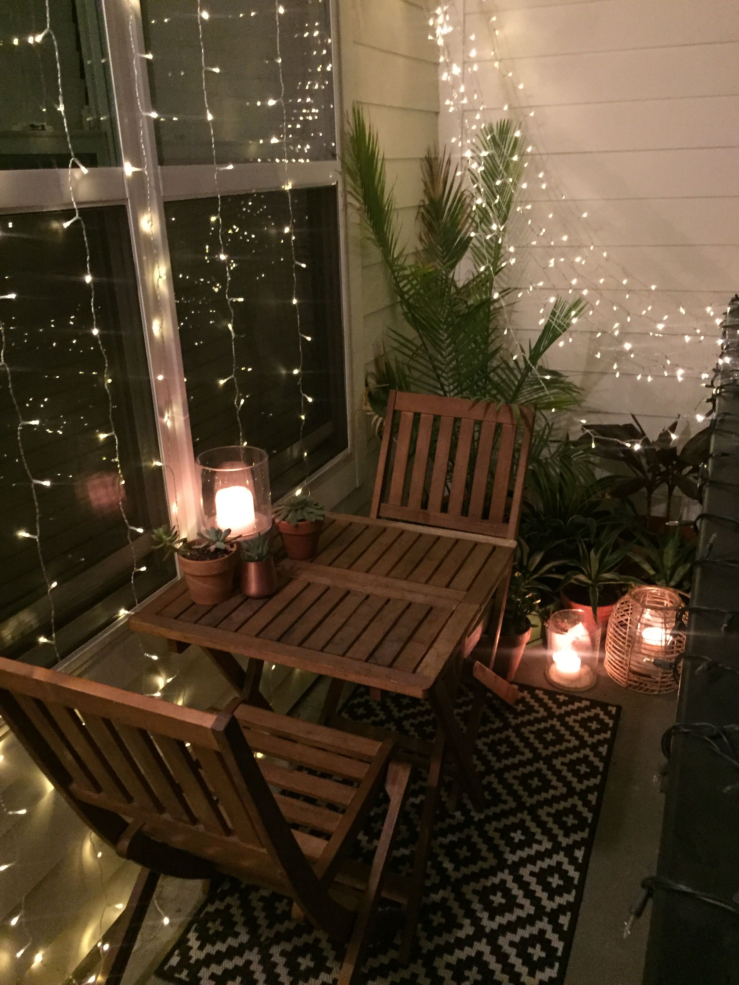 Balcony Lighting Ideas Pin By Sloansayswhat On Small Apartment Balcony Decor And
