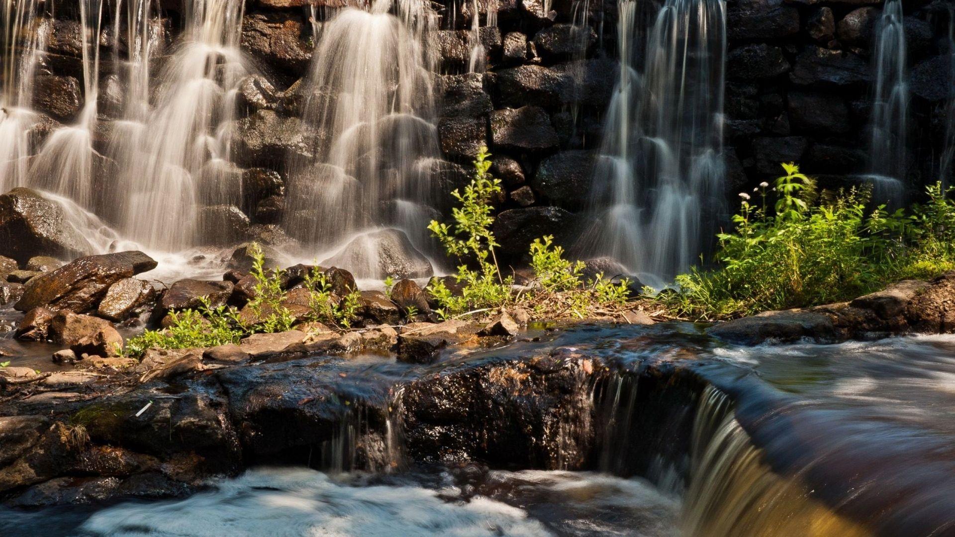 Download Wallpaper 1920x1080 Waterfall Foam River