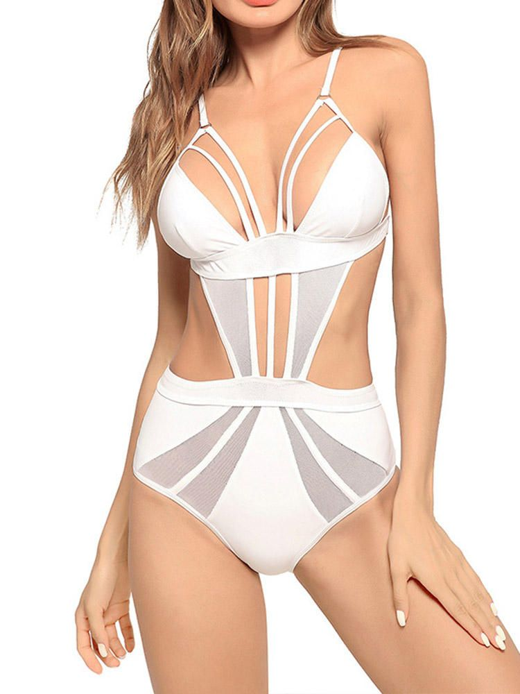 6e903f854f884 Hollow Out Padded Strap-on One Piece Swimsuit Beach Bathing Swimwear ...