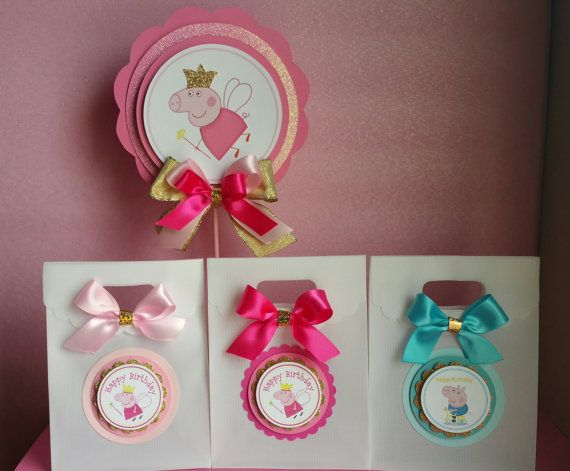 Hot Pink and gold party Peppa pig Inspired by HeidiPartyCreations